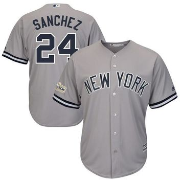 Men's New York Yankees Gary Sanchez Majestic Gray 2017 Postseason Cool Base Player Jersey