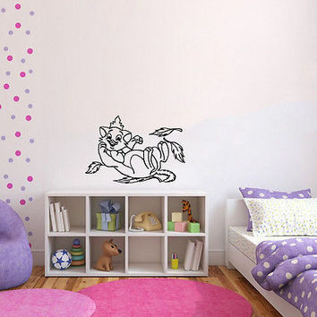 Wall Mural Vinyl Sticker Decal      cat crown of leaves DA1397