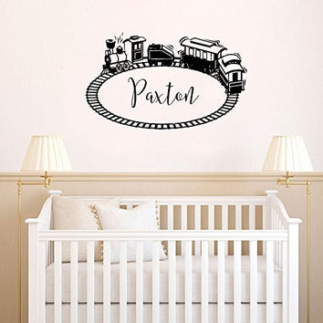 Toy Train and Tracks with Optional Custom Monogram Name Vinyl Wall Words Decal Sticker Graphic