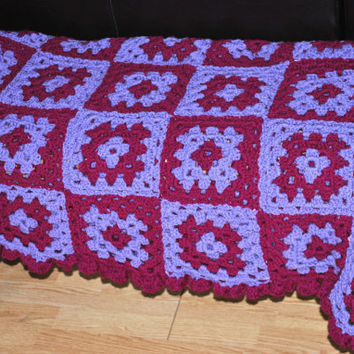 Crochet Afghan, Ruffled Crochet Edge, Purple Crochet Blanket, Dark Purple, Light Purple, Granny Square, Couch Throw, Two Tone Blanket