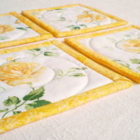 Fabric Quilted Coaster - Yellow Roses - Four of  Reversible Patchwork Mini Quilts Candle Mat Set - Yellow, Green and White