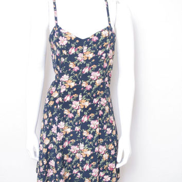 Vintage Cross Back Thin Strap Floral Print Summer Sun Dress