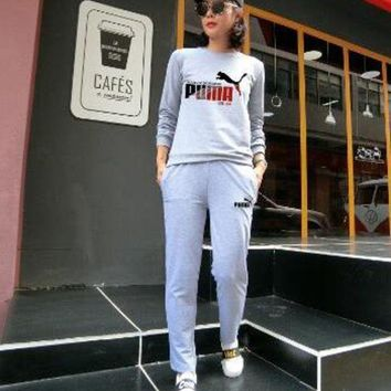 DCCKI2G PUMA Women Top Sweater Pullover Hoodie Pants Trousers Set Two-Piece Sportswear