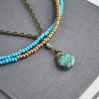 Tribal Turquoise Necklace. Beaded Necklace Jewelry. Multi Strand Necklace.Turquoise and Gold Seed Beads