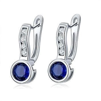 Police Support Crystal Hoop Earrings