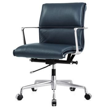 Office Chair In Navy Blue Italian Leather