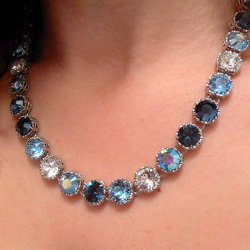 "Swarovski Crystal Necklace, Art Deco Choker, NEW ""City In Blue"" , Multicolors, Vintage, Valentine Gift, Long, Statement, Tennis, Shabby"