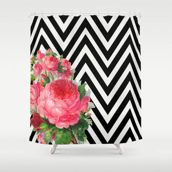 FLORAL BLACK AND WHITE CHEVRON Shower Curtain By Allyson Johnson