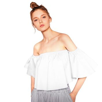2017 NEW Summer Fashion Trend Women's Smock Top Off Shoulder Cute Brief Ruffles Girl's PETITE Structured Bardot Top Short Blouse