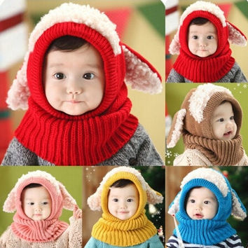 Girls Boys Baby Winter Beanie Cute Hat Hooded Scarf Earflap Knitted Lamb Cap = 1958190276