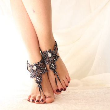 Black Lace Barefoot Sandals, french lace, Nude shoes, Gothic, Foot jewelry,Wedding Shoes  Black and Silver Lace Barefoot Sandals