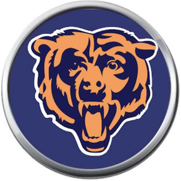 Mean Bear Chicago Bears NFL Logo Football Lovers Team Spirit 18MM - 20MM Snap Jewelry Charm