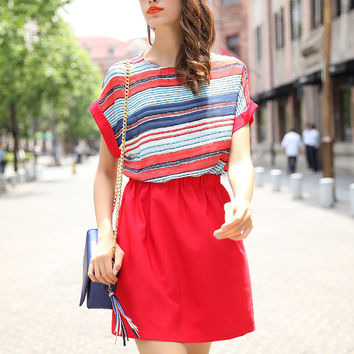 Striped Short Sleeve A-line Mini Dress