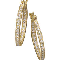 14 Karat Gold Plated In and Out Crystal Fashion Hoop Earrings