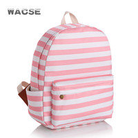Stylish Korean Stripes Fashion Striped Casual Pink Canvas Backpack = 4887439876