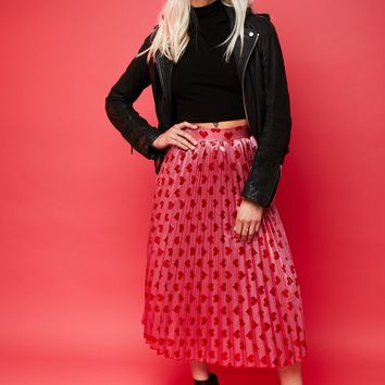 Follow Your Heart Pleated Midi Skirt