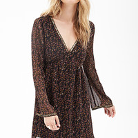 LOVE 21 Botanical Print Shift Dress Black/Cocoa