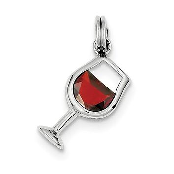 925 Sterling Silver Red Wine Glass Necklace Charm