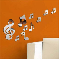 Musical Notes Music Art Mirror Wall Sticker Decal Acrylic Plastic Home Decor (Color: Silver)