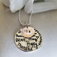 "Be ""bee"" Kind Wise Free Brave Strong Happy Compassionate Statement Necklace, Si"