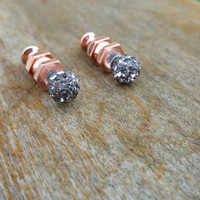 Hematite pave & rosegold spike doublesided spike earrings. Front back. Spike earrings. Faux gauge