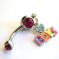 Love Boys Belly Ring / Fun Flirty Belly Button Jewelry Bellybutton Ring Cute Belly Rings