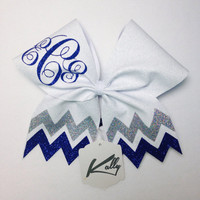 GLITTER!!! Glitter Chevron On A Monogramed Cheer Bow Your Choice of Colors