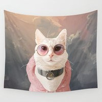 Fashion Portrait Cat Wall Tapestry by lostanaw
