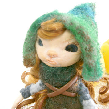 elf doll, miniature doll, art doll, collectible doll, red haired  doll