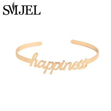 SMJEL New Fashion Love Simple Happiness Letter Bracelets Bangles for Women Open Cuff Bangle Femme Party Wedding Gift G057