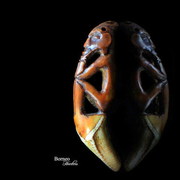 "Tooth Pendant 2.3""Borneo Tribal Dayak Head Hunting Diminutive Charm Sculpture Pendant Mythological Protective Figure Ethnographic Artwork"
