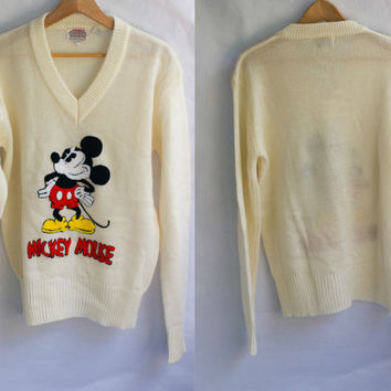 Vintage 80S Mickey Mouse Disney Character Fashions Acrylic Soft V-neck Sweater Ladies L. Embroidered.