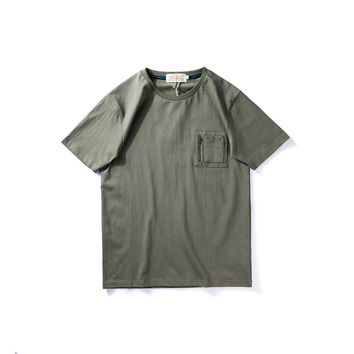 With Pocket Short Sleeve Summer Training Simple Design Round-neck Cotton T-shirts [9790784963]