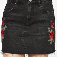 PacSun Rose Embroidered Black Skirt at PacSun.com