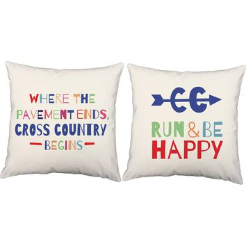 Runand Be Happy Cross Country Throw Pillows