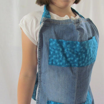 Teal Blue Floral Print Girl's Jean Upcycled Full Apron
