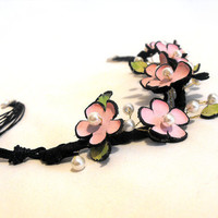 Flowers statement leather necklace sakura blossom by julishland