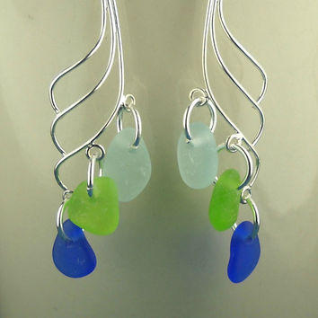 Sea Glass Earrings Sterling Silver Cobalt Aqua by seaglassgems4you