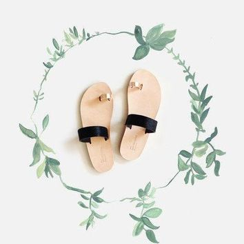 Free Shipping   Black Pony And Rose Gold Persephone Greek Sandals Handcrafted In Genuine Leather.