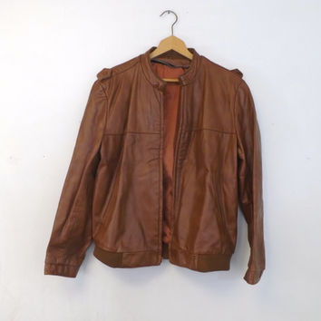Vintage 1970s Retro Tan Brown Genuine Leather Jacket Coat Mens Blazer Size 44 Large Bomber Motorcycle Jacket Pilot Boho Hipster Classic