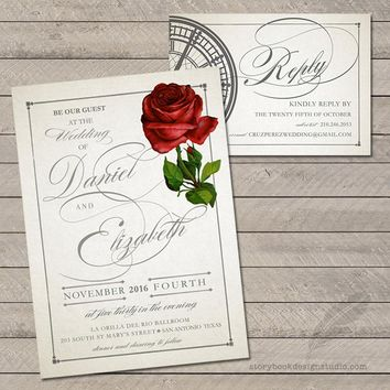 Classic Rose Wedding Invitation and RSVP