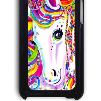 IPod 4 Case - Hard (PC) Cover with Lisa Frank Majesty The Rainbow Horse Plastic Case Design