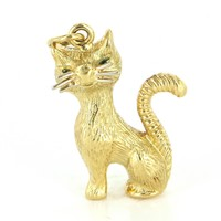 Vintage Kitty Cat Pendant 18 Karat Yellow Gold Estate Fine Animal Jewelry Heirloom Charm