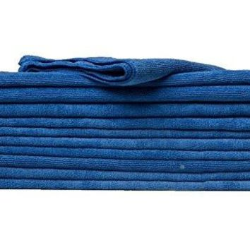 "Cleaning Cloth 12 Pack -Lint Free Car Wash Terry Towel (16""x27"") Auto Care Thick Large for Glasses Kitchen and Automotive cleaning wash towels (12, Blue)"