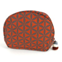 Flower of Life Cosmetic Bag Terra Cotta/Grey