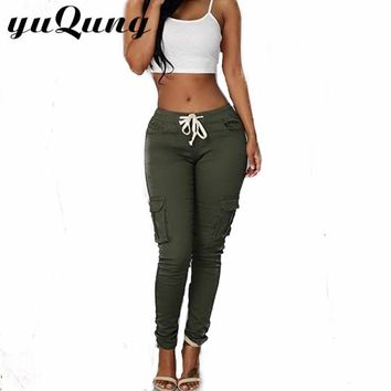 yuqung Women's Army green pants casual pocket Women pencil pants Ladies drawstring full length Long Trousers Skinny Capris