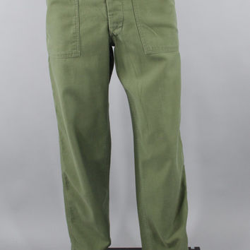 1960s Vintage US Army Pants / Vietnam War Era / OG-107 Trousers / Cotton Army Trousers / OD No. 7 Trousers / Size Small / 28 X 29