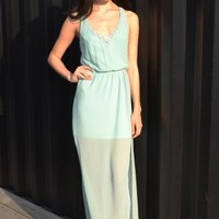 Mint Embellished Maxi Dress