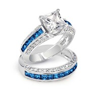 Bling Jewelry Blue Princess Rings