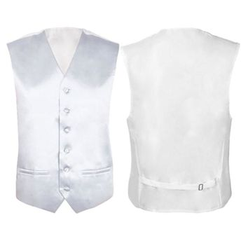 MALL Mens Wedding Waistcoat Groom (Ivory white L/UK 40)